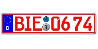 Rotes Händlerzeichen einzeilig online kaufen bei Kennzeichenbiene.de in Berlin