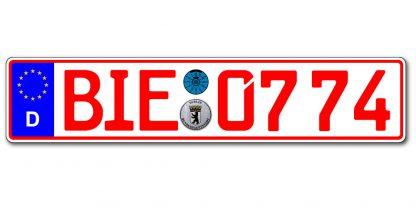 Rotes historisches 07 Kennzeichen einzeilig online kaufen bei Kennzeichenbiene.de in Berlin