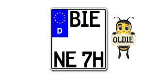 Oldtimer Motorrad Kennzeichen EURO historisch kürzester Standard zweizeilig bei Kennzeichenbiene
