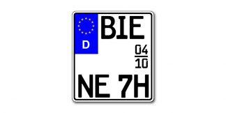 Historisches Saison EURO Motorrad Kennzeichen kürzester Standard zweizeilig bei Kennzeichenbiene in Berlin