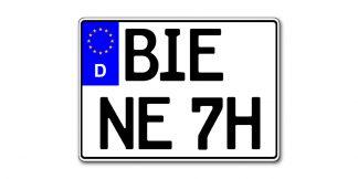 Motorrad Kennzeichen EU historisch mit H zweizeilig 280 mm - altes Maß