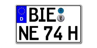 EURO Kennzeichen zweizeilig historisch mit H 340 x 200 mm