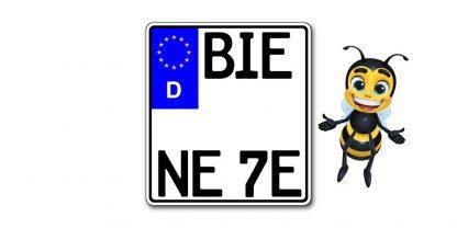 EURO E-Schild Motorrad Kennzeichen kürzester Standard zweizeilig bei Kennzeichenbiene in Berlin