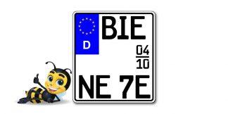 Saison EURO E-Schild Motorrad Kennzeichen kürzester Standard zweizeilig bei Kennzeichenbiene in Berlin